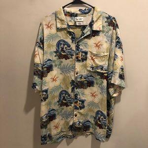 Disney Mickey Mouse Hawaiian shirt floral tan